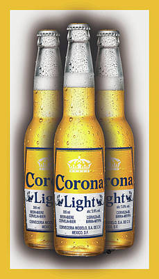 Etched Glass Painting - Corona Light Bottles Painting Collectable by Tony Rubino