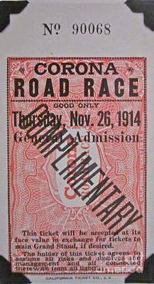 Corona Road Race 1914 Art Print by Gwyn Newcombe