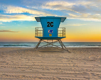 Coronado Beach Lifeguard Tower At Sunset Art Print