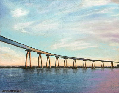 Pastel - Coronado Bridge Sunset A by Michael Heikkinen