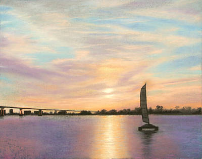 Pastel - Coronado Bridge Sunset  B by Michael Heikkinen