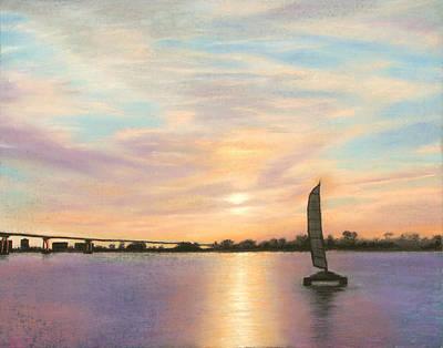 Pastel - Coronado Bridge Sunset  B by Michael Heikkinen