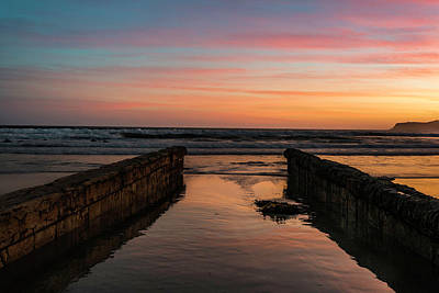 Photograph - Coronado Pier Remains Sunset by Scott Cunningham