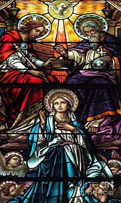 Photograph - Coronation Of The Blessed Virgin Mary Stained Glass Window Craquelure Effect by Rose Santuci-Sofranko