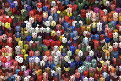 Visual Illusion Painting - Cororful Cubes 2 by Jack Zulli