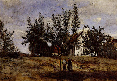 Corot An Orchard At Harvest Time Art Print