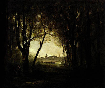 Corot Camille Landscape With A Lake Art Print by Jean Baptiste Camille Corot