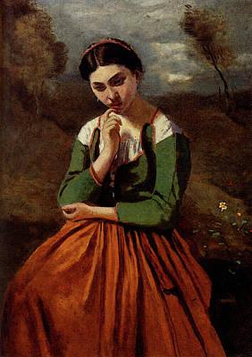 Corot Jean Baptiste Camille Corot La Meditation Art Print by Jean Baptiste Camille Corot