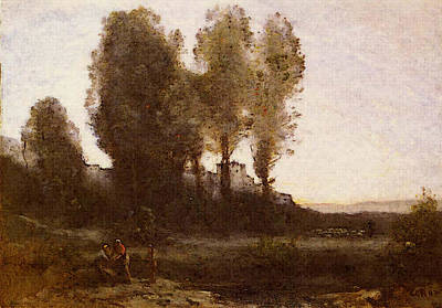 Corot Jean Baptiste Camille Le Monastere Derriere Les Arbres Art Print by Jean Baptiste Camille Corot