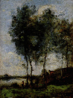Corot Jean Baptiste Camille Pech Au Bord De La Riviere Art Print by Jean Baptiste Camille Corot