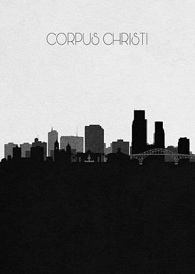 Drawing - Corpus Christi Cityscape Art by Inspirowl Design