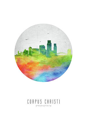 Corpus Christi Digital Art - Corpus Christi Skyline Ustxcc20 by Aged Pixel