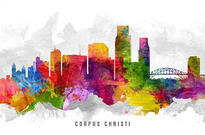 Corpus Christi Painting - Corpus Christi Texas Cityscape 13 by Aged Pixel