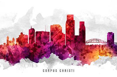 Corpus Christi Painting - Corpus Christi Texas Cityscape 14 by Aged Pixel