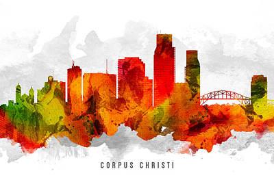 Corpus Christi Texas Painting - Corpus Christi Texas Cityscape 15 by Aged Pixel