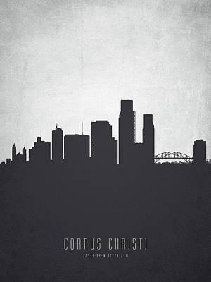 Corpus Christi Painting - Corpus Christi Texas Cityscape 19 by Aged Pixel