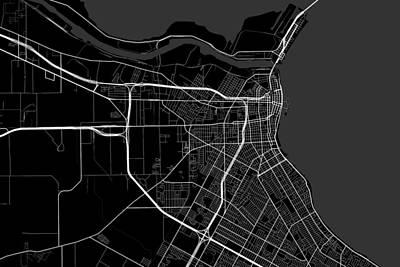 Corpus Christi Digital Art - Corpus Christi Texas Usa Dark Map by Jurq Studio