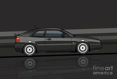 80s Cars Digital Art - Corrado Black Stripes by Monkey Crisis On Mars