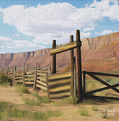 Digital Art - Corral Gate by Walter Colvin