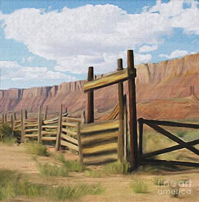 Digital Art - Corral Gate by Walter Colvin