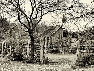 Photograph - Corral In Black And White by Charles McKelroy