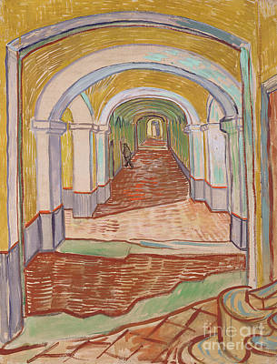 Asylum Painting - Corridor In The Asylum, September 1889 by Vincent van Gogh