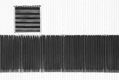 Photograph - Corrugated Factory Wall Bw by Mary Bedy