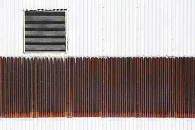 Photograph - Corrugated Factory Wall by Mary Bedy