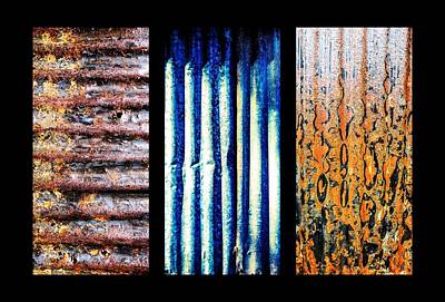 Photograph - Corrugated Iron Triptych #5 by Lexa Harpell