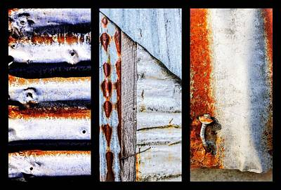 Photograph - Corrugated Iron Triptych #7 by Lexa Harpell