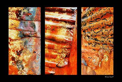 Photograph - Corrugated Iron Triptych #2 by Lexa Harpell