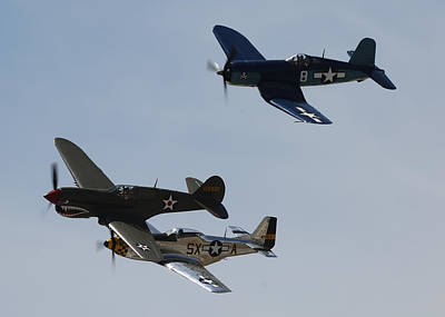 Photograph - Corsair F4u P40 P51 Mustang Kimberly Kaye At The Hollister Air Show by John King