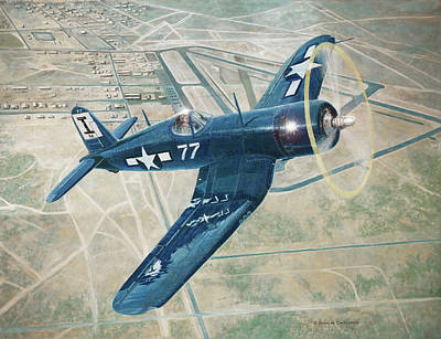 Painting - Corsair Over Mojave by Douglas Castleman
