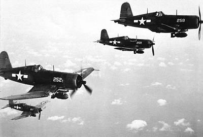 Flight Formation Photograph - Corsair Planes  Us Airforce by American School