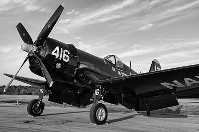 Photograph - Corsair Sundown In Black And White by Chris Buff