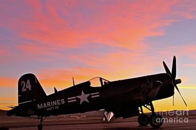 Corsair Sunset At Reno Original by Gus McCrea