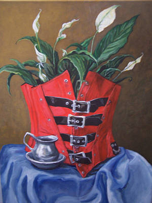 Art Print featuring the painting Corset And Calla Lily by Laura Aceto