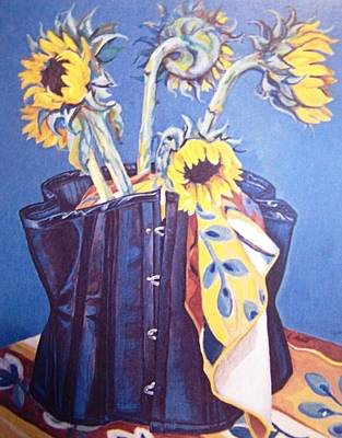 Art Print featuring the painting Corset And Sunflowers by Laura Aceto