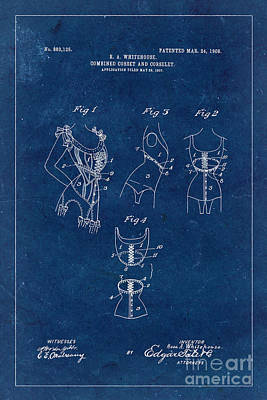 Underwear Photograph - Corset Patent From 1908 - Blue by Delphimages Photo Creations