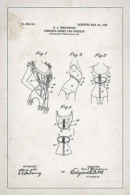 Underwear Photograph - Corset Patent From 1908 by Delphimages Photo Creations