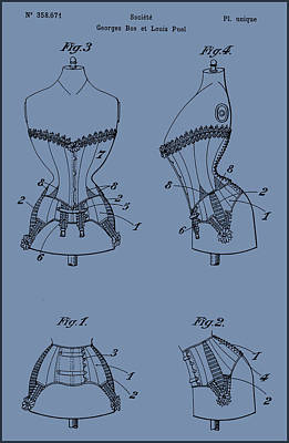 Painting - Corset Patent Drawing by Patent Drawing
