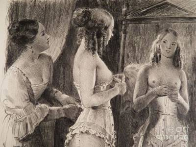 Drawing - Corset by Paul Emile Becat
