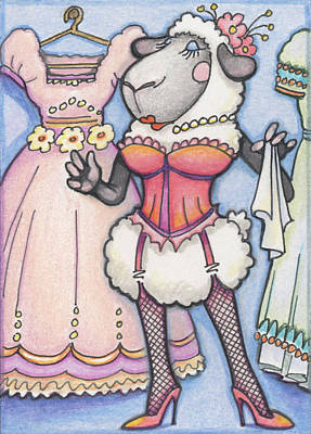 Corsetted Sheep Art Print by Amy S Turner