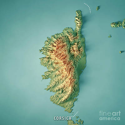 Map Of France Digital Art - Corsica Island 3d Render Topographic Map Border by Frank Ramspott