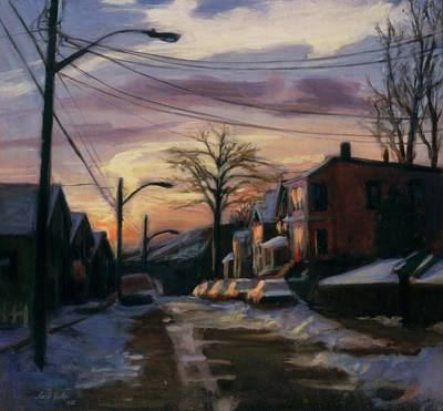Snow Scene Landscape Painting - Corson Avenue - February by Sarah Yuster