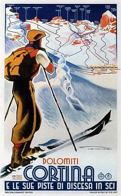 Ski Art Painting - Cortina Dolomiti Skiing Vintage Travel Poster by Studio Grafiikka
