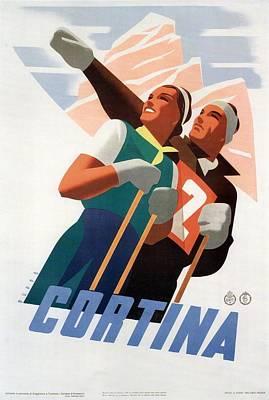 Painting - Cortina Skiing Vintage Poster by Studio Grafiikka