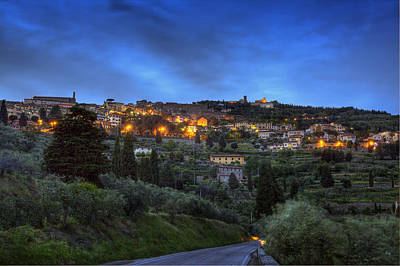 Photograph - Cortona Tuscany At Dusk by Al Hurley