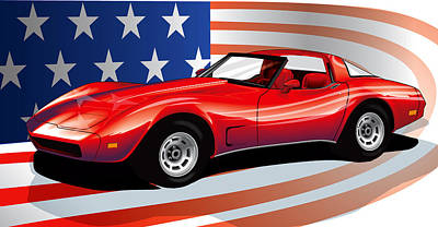 Corvette Art Print by Brian Gibbs