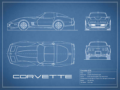 Corvette Photograph - Corvette C3 Blueprint by Mark Rogan